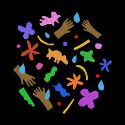 Illustration of multiple hands, animals, flowers, and water droplets in various colours against a black background